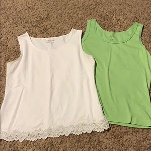 Coldwater Creek & Talbots 2 tank tops white green